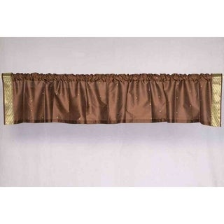 Brown - Rod Pocket Top It Off handmade Sari Valance - Pair