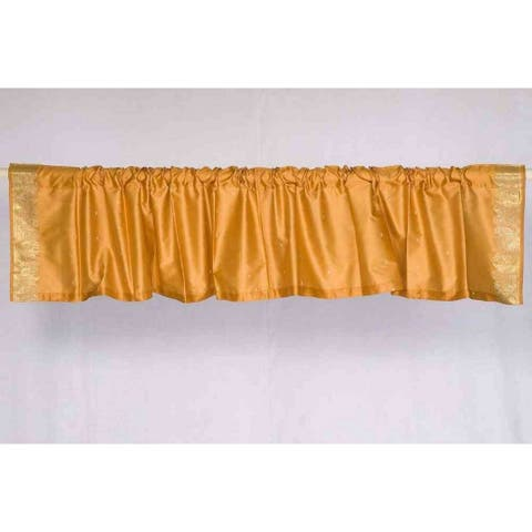 Pumpkin - Rod Pocket Top It Off handmade Sari Valance - Pair