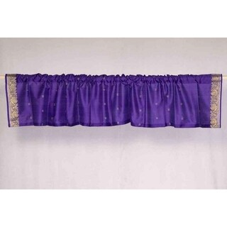 Purple - Rod Pocket Top It Off handmade Sari Valance - Pair