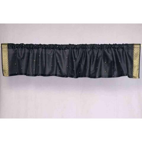 Black - Rod Pocket Top It Off handmade Sari Valance - Pair