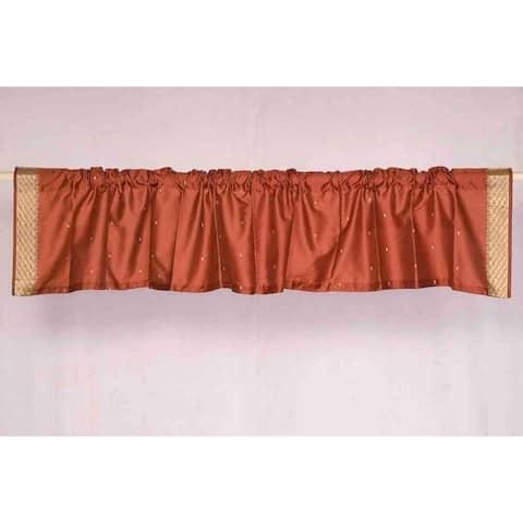Rust - Rod Pocket Top It Off handmade Sari Valance - Pair