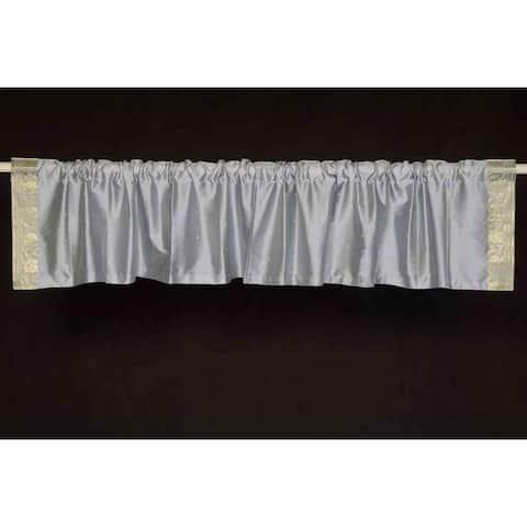 Handmade Gray Rod Pocket Sari Curtain Valance, Set of 2 (India)
