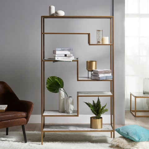 Versanora - Marmo Large 5-Tier Display Shelf - Faux Marble /Brass