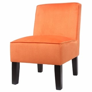 Fabric Upholstered Cushioned Chair with Wooden Legs, Orange and Brown