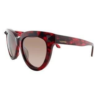 Valentino Cat-Eye V722S 649 Women Red Havana Frame Brown Gradient Lens Sunglasses
