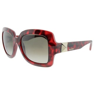 Valentino Square V714S 649 Women Red Havana Frame Brown Gradient Lens Sunglasses