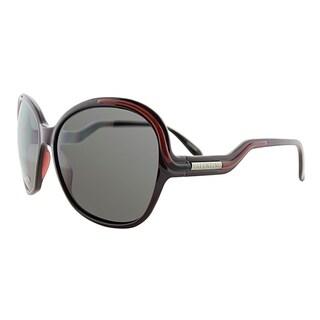 Valentino Round V5552S QDM Women Rust Red Frame Grey Lens Sunglasses