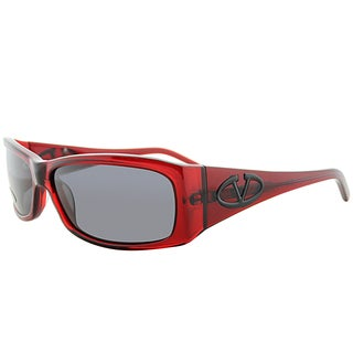 Valentino Rectangle V5558S QBJ Women Transparent Red Frame Grey Lens Sunglasses