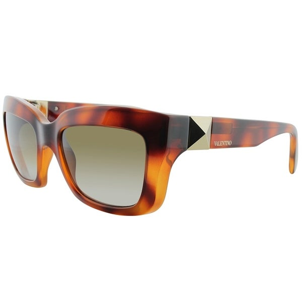 Valentino Square V692S 725 Women Blonde Havana Frame Brown Gradient Lens Sunglasses