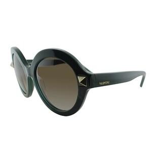 Valentino Round V696S 315 Women Green Frame Brown Gradient Lens Sunglasses