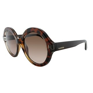 Valentino Round V698S 725 Women Blonde Havana Frame Brown Gradient Lens Sunglasses