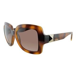 Valentino Square V714S 214 Women Havana Frame Brown Gradient Lens Sunglasses