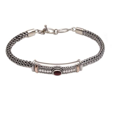 Handmade Gold Accent Center of Hope Garnet Bracelet (Indonesia) - Silver