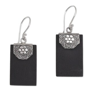 Handmade Sterling Silver Lava Stone 'Bars of Midnight' Earrings (Indonesia)