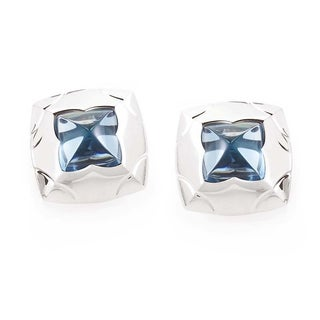 Bvlgari Piramide 18k White Gold and Topaz Earrings