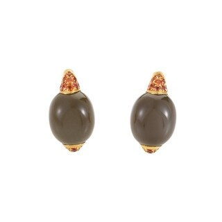 Fantasia Yellow 18k Gold Gray Moonstone Orange Sapphire Earrings