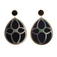 Polished Rock Candy  Yellow Gold Onyx and Mother of Pearl Teardrop Earrings