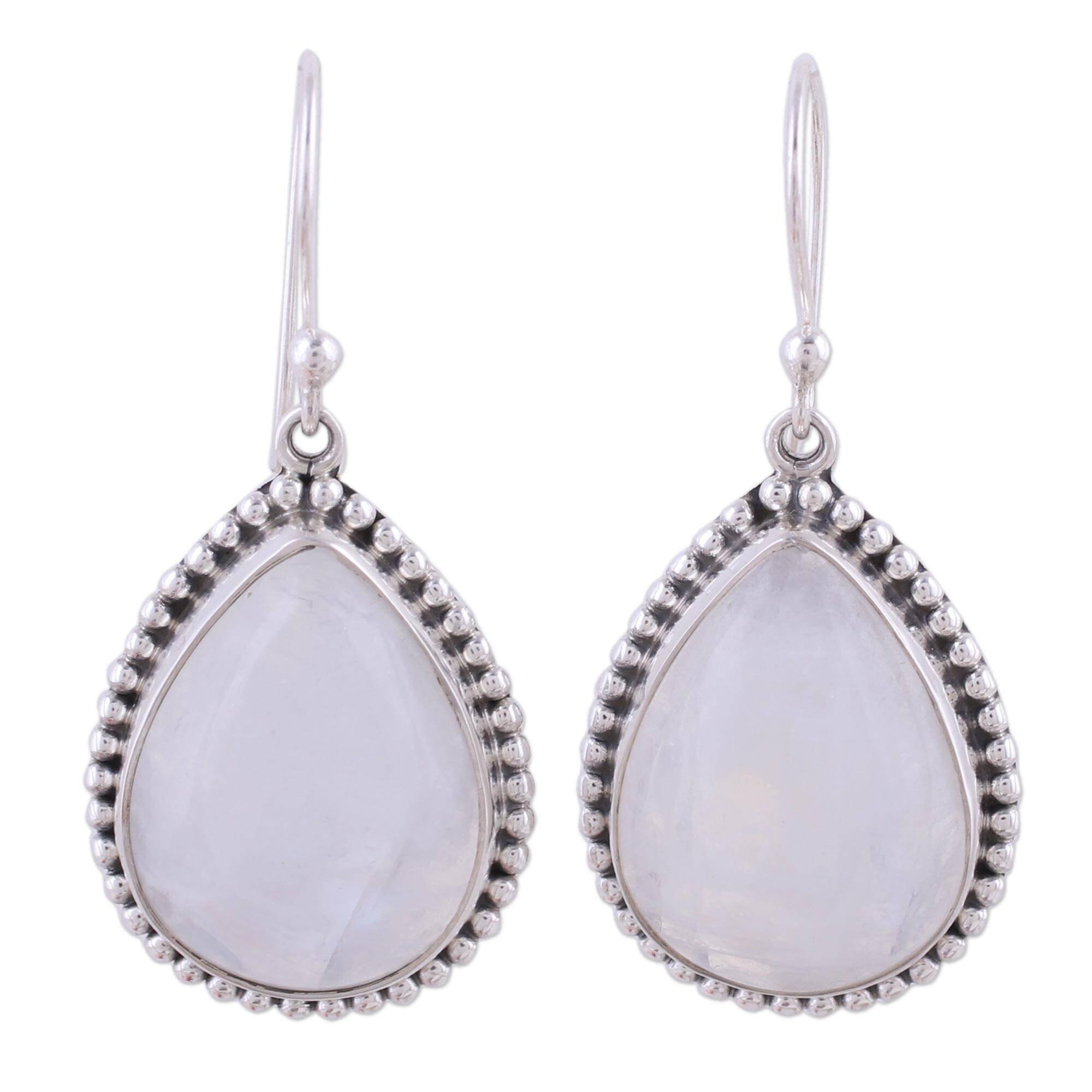 Handmade Sterling Silver Mystical Charm Rainbow Moonstone Earrings India