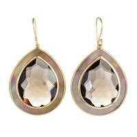 Ondine  Yellow Gold Smoky Quartz and Mother of Pearl Large Teardrop Earrings