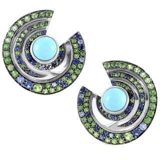 Boucheron Women's 18k White Gold Blue/Green Gemstone Vortex Earrings