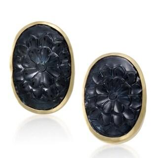 Gurhan Womens 24-karat Yellow Gold Green Tourmaline Intaglio Earrings