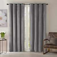 Madison Park Yvette Lined Velvet Window Panel Curtain in Grey (As Is Item)