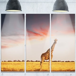 Designart u0027Single Giraffe in Savannahu0027 African Glossy Metal Wall Art & Giraffe Metal Wall Art at Overstock.ca