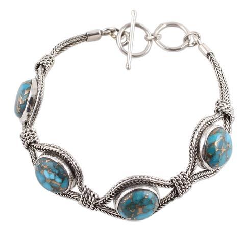 Handmade Sterling Silver 'Heavenly Blues' Turquoise Bracelet (India)