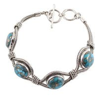 Handmade Sterling Silver 'Heavenly Blues' Turquoise Bracelet (India)