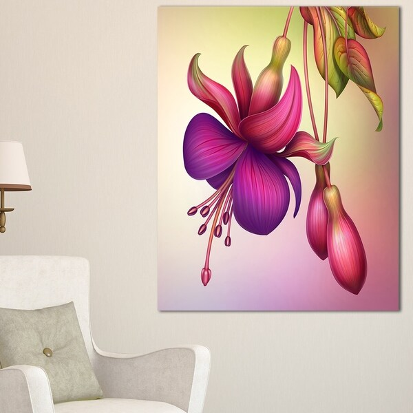 fuchsia flowers with green leaves large floral wall art canvas