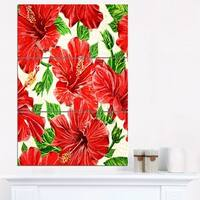 Seamless Hibiscus Flowers Pattern - Large Floral Wall Art Canvas