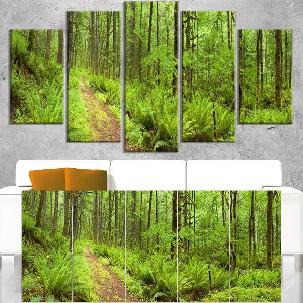 Lush Forest Path Columbia River - Forest Canvas Wall Art Print -  DESIGN ART, PT11137-M