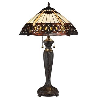 Tiffany-style Amberjack Bronze Finish Base Table Lamp