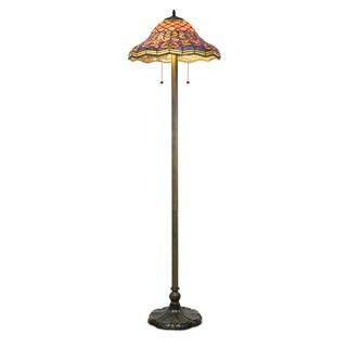 Tiffany style peacock floor lamp free shipping today for Overstock tiffany floor lamp