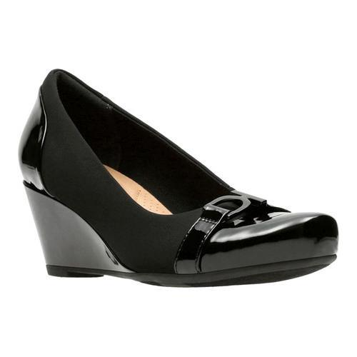Women's Clarks Flores Poppy Wedge Black Textile/Synthetic Combination