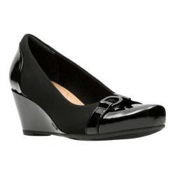 Women's Clarks Flores Poppy Wedge Black Textile/Synthetic Combination - Thumbnail 0