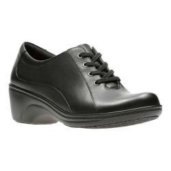 Women's Clarks Graley Ginger Sneaker Black Full Grain Leather