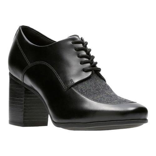 Women's Clarks Kensett Darla Heel Black Leather/Textile Combination