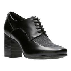 Women's Clarks Kensett Darla Heel Black Leather/Textile Combination - Thumbnail 0