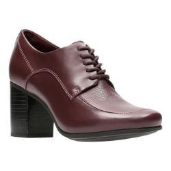 Women's Clarks Kensett Darla Heel Burgundy Leather/Full Grain Leather/Textile