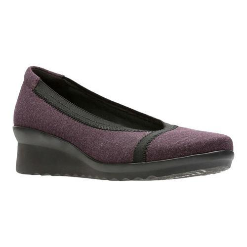 Women's Clarks Caddell Dash Wedge Aubergine Heathered Textile