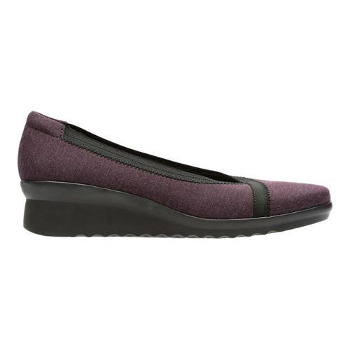 Women's Clarks Caddell Dash Wedge Aubergine Heathered Textile - Thumbnail 1
