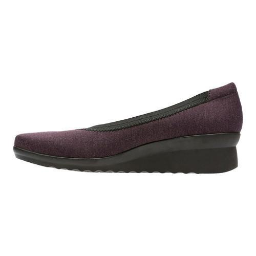 Women's Clarks Caddell Dash Wedge Aubergine Heathered Textile - Thumbnail 2