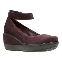 Women's Clarks Wynnmere Fox Wedge Aubergine Suede