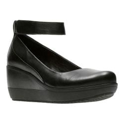 Women's Clarks Wynnmere Fox Wedge Black Full Grain Leather
