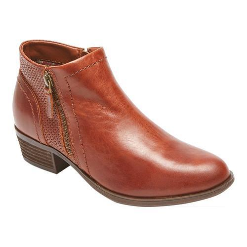 Women's Rockport Cobb Hill Oliana Bootie Saddle Pull Up Leather