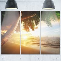 Phase1 Beautiful Beach under Palms - Modern Seashore Metal Wall At - 36Wx28H