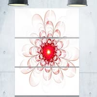 Phase1 Full Bloom Fractal Flower in Red - Flower Large Metal Wall Art - 36Wx28H