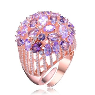 Collette Z Rose Gold Plated Purple Cubic Zirconia Accent Wide Ring
