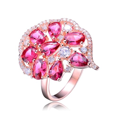 Collette Z Rose Gold Plated Red Cubic Zirconia Comfort Fit Ring